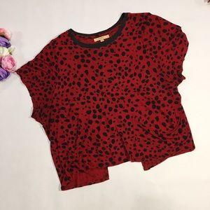 Zara red short sleeve top tee black accents